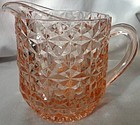 "Holiday Pink Milk Pitcher 4.75"" 16 oz Jeannette Glass Company"