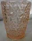 "Holiday Pink Tumbler 4"" Flat 10 oz Jeannette Glass Company"
