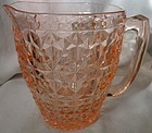 "Holiday Pink Pitcher 6.75"" 52 oz Jeannette Glass Company"