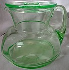 "Refrigerator Jug with Flat Cover Green 6 1/8"" 62 oz Cambridge Glass"