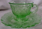 Avocado Green Cup and Saucer Indiana Glass Company