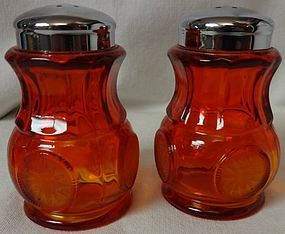 "Coin Red Salt and Pepper 3.25"" Chrome Top Fostoria Glass Company"