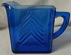"Chevron Cobalt Milk Pitcher 3.75"" Hazel Atlas Glass Company"