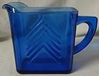 "Chevron Cobalt Milk Pitcher 3.75"" Hazel Atlas Glass Company"