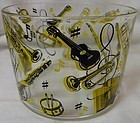 "Musical Yellow & Black Ice Bucket 5.5"" x 4.25"" Hazel Atlas Glass"