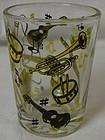 "Musical Yellow and Black Whiskey 3 1/8"" 4 oz Hazel Atlas Glass"