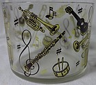 "Musical Yellow & Brown Ice Bucket 5.5"" Hazel Atlas Glass Company"