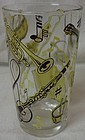 "Musical Yellow & Brown Water Tumbler 5"" Hazel Atlas Glass Company"