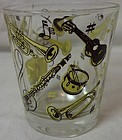 "Musical Yellow & Brown Whiskey 3 1/8"" 4 oz Hazel Atlas Glass Company"