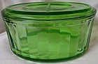 "Refrigerator Dish & Lid Oval Green 8' x 6"" Hocking Glass Company"