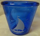 Sailboat Cobalt Ice Tub Hazel Atlas Glass Company