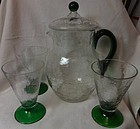 "Pitcher with Lid 10.25"" and 3 Tumblers 5.25"" Green & Crystal Crackle"