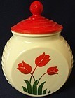 Tulip Red Grease Jar Fire King Anchor Hocking Glass Company