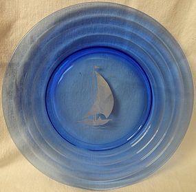 "Moderntone Cobalt White Ship Luncheon Plate 7.75"" Hazel Atlas Glass"