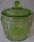 Princess Green Cookie Jar and Lid Hocking Glass Company
