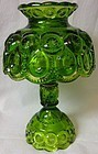 "Moon and Star Green Candlelamp 9.75"" L E Smith Glass Company"