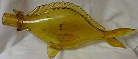 "Crackle Glass Fish Amber 15"" x 6.5"""