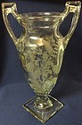 """Fuchsia Crystal Urn 11.5"""" 2 Handled Trophy Tiffin Glass Company"""