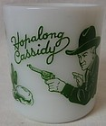 "Hopalong Cassidy Green Milk Mug 3"" Hazel Atlas Glass Company"