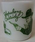 "Hopalong Cassidy Green Milk Mug 3"" Hazel Atlas Glass Company"