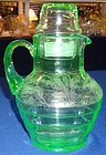 "Black Forest Green Tumble Up Pitcher 6.75"" with Tumbler Paden City"