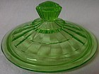 Block Optic Green Lid for Low Candy Hocking Glass Company