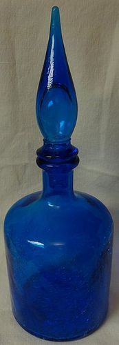 "Crackle Bottle with Stopper 12.5"" Blue"