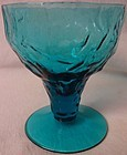 "Crinkle Peacock Blue Stemmed Cocktail 3 5/8"" Morgantown Glass"