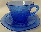 Royal Lace Cobalt Cup and Saucer Hazel Atlas Glass Company