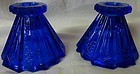 "Wig Wam Cobalt Candlestick Pair 3"" Co-Op Flint Glass Company"