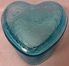 "Flower Garden and Butterflies Blue Heart Shape Candy 6.5"" Tiffin Glass"