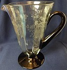 "Baden Jug Crystal and Black Barry 9.25"" 38 oz Jug Morgantown Glass"