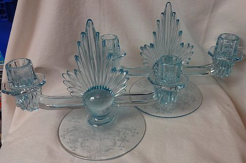 "Meadow Rose Azure Pair Flame Duo Candlesticks 12.5"" Fostoria Glass"
