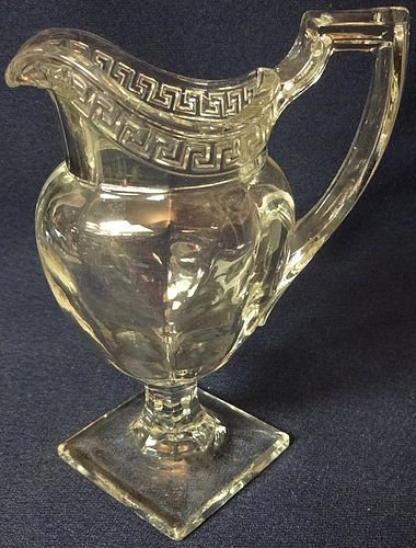 "Greek Key Crystal Creamer 5"" U. S. Glass Company"