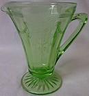 "Cameo Green Creamer 4.25"" Hocking Glass Company"