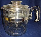 "Coffee Pot Crystal 7"" tall 6 Cup Pyrex Glass"