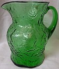 "Crinkle Green Ockner Pitcher 8"" Morgantown Glass Company"