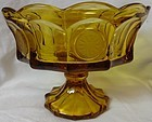 "Coin Amber Bowl Footed 6.75"" Tall 8.5"" Across Fostoria Glass Company"