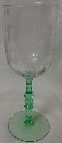 "Fontaine Goblet Green & Crystal 8.25"" Tiffin Glass Company"