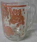 """Pink Elephant Mug 5"""" Hazel Atlas Glass Company"""
