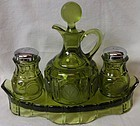 Coin Olive Condiment Set S & P and Oil on Tray Fostoria Glass Company