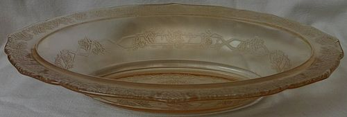 "Normandie Pink Oval Bowl 10"" Federal Glass Company"