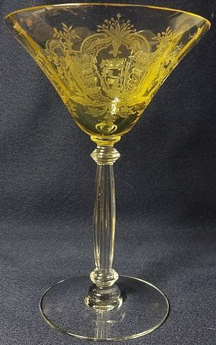 "LaFleure Yellow Saucer Champagne 6.25"" 6 oz Tiffin Glass Company"
