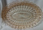 "Holiday Pink Platter Oval 11 3/8"" Jeannette Glass Company"
