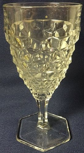"American Crystal Goblet Hexagon 6 7/8"" 10 oz Fostoria Glass Company"