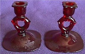 Paden City Orchid Red Pair Candleholders