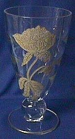 Tiffin Swedish Optic Crystal Vase with Gold Etching