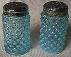 Fenton Hobnail Blue Opalescent Pair Shakers