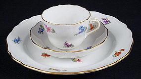 Antique Meissen 3 Piece Demitasse Cup & Saucer