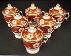 Antique English Covered Chocolate Cups, Pot de Crème